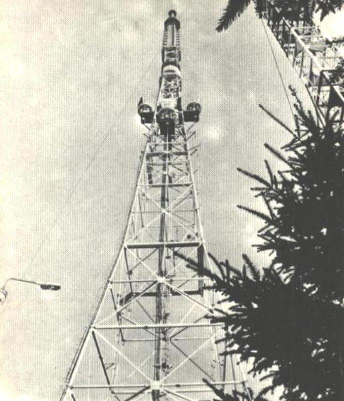Хмельницька телевежа – четверта за висотою  в Україні. Фото 1982 р.