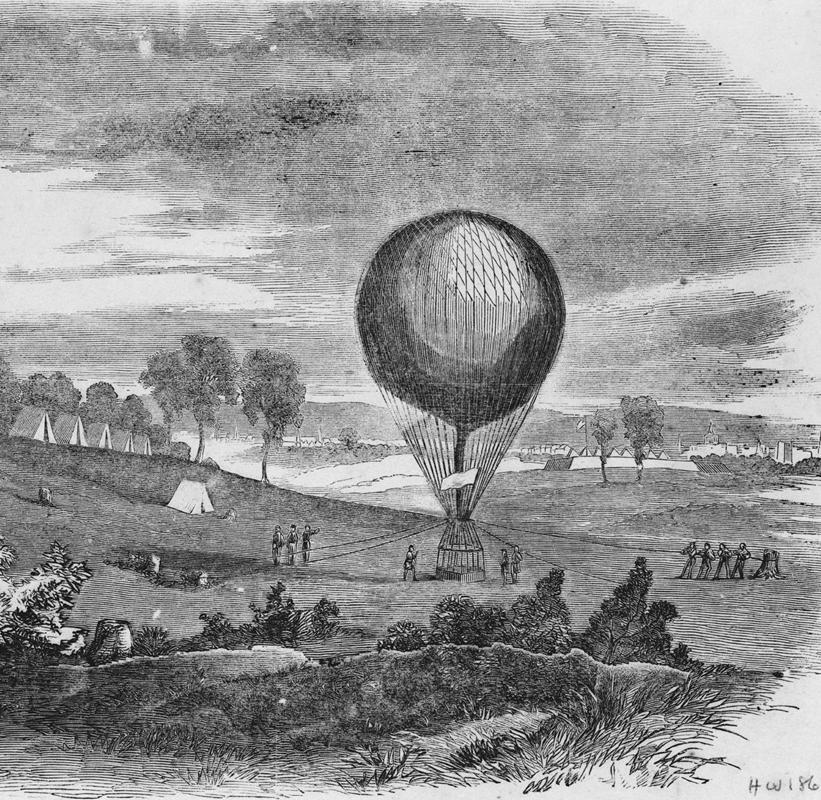 Запуск повітряної кулі, гравюра  ХІХ століття.