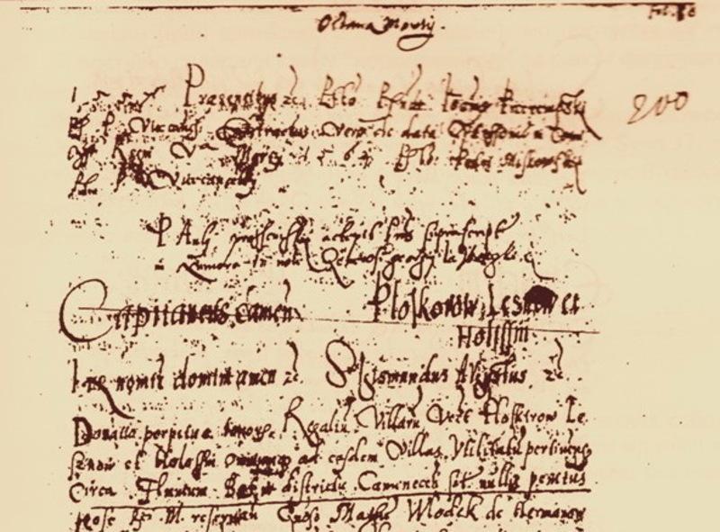 Фрагмент документа, у якому згадуються Плоскирівці - нині Хмельницький