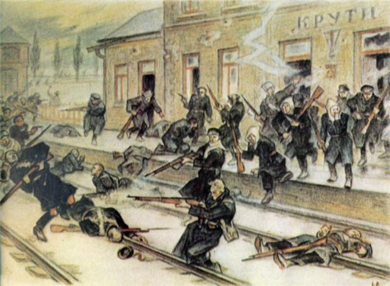 Картина «Крути-станція» Леоніда Перфецького, який був не лише художником, а й сотником армії УНР