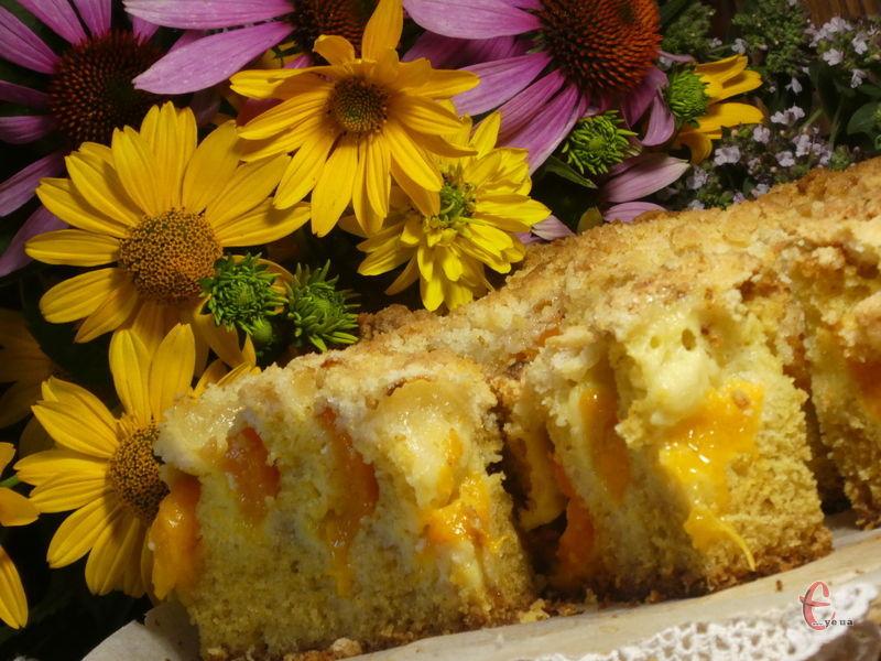Така домашня, пухка, сонячна й ванільно-ароматна випічка! Хрустка скоринка штрейзеля робить її дуже «ошатною».