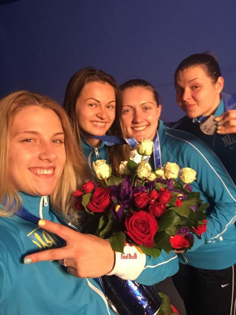 Срібна українська четверіка з фехтування: Харлан, Кравацька, Вороніна та Комащук