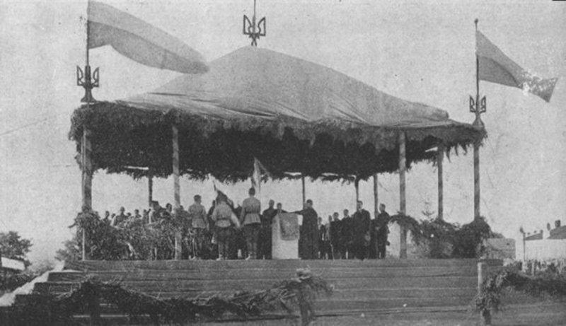 Присяга членів Директорії відбулася ще в жовтні 1919 року в Кам'янці-Подільському під синьо-жовтими прапорами, хоча на фото жовтий колір виглядає темнішим