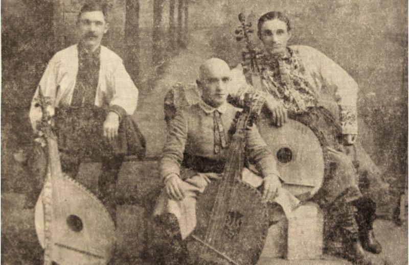 Тріо бандуристів під керівництвом Костя Місевича.  Львів в 1925 рік