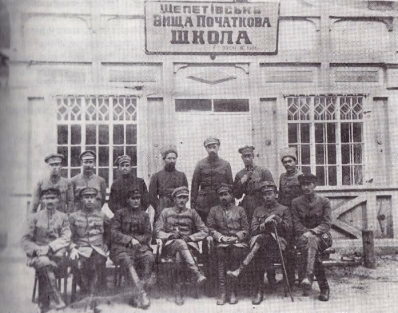 Нарада команди 11 дивізії січових стрільців на чолі з Євгеном Коновальцем, Шепетівка 1919 рік