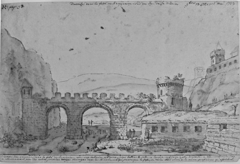 Замковий міст 1781 рік . Малюнок архітектора Жана Анрі Мюнца
