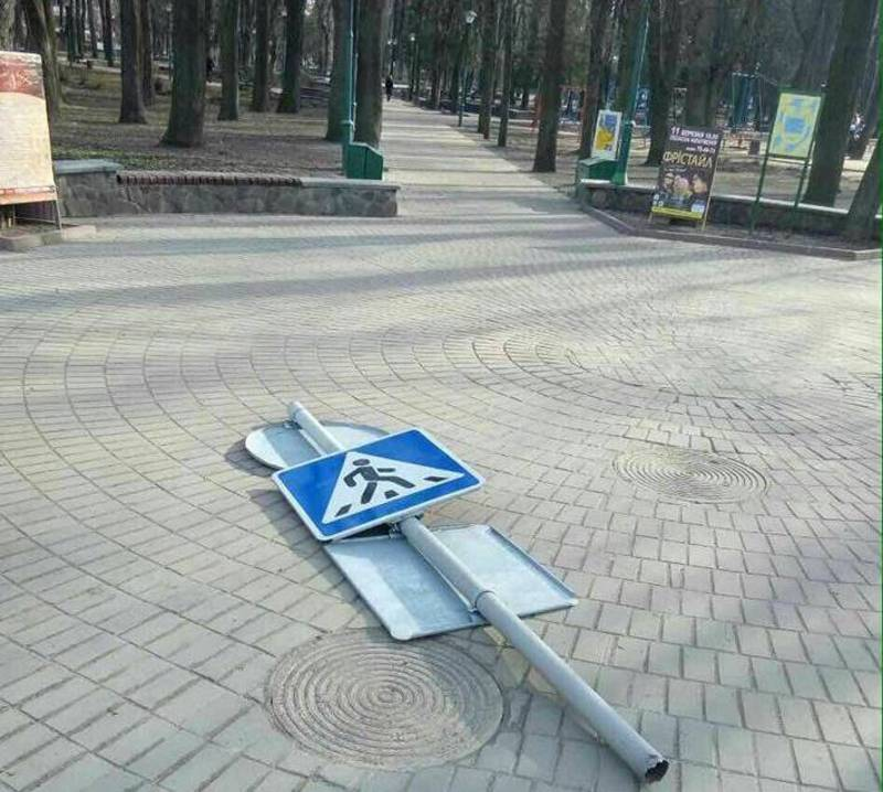 Знак впав на пішохода