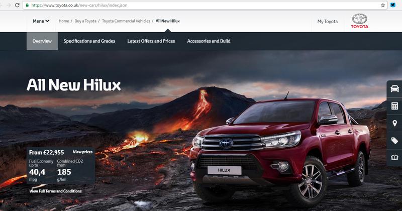 Ось так Toyota Hilux виглядає на офіційному сайті виробника