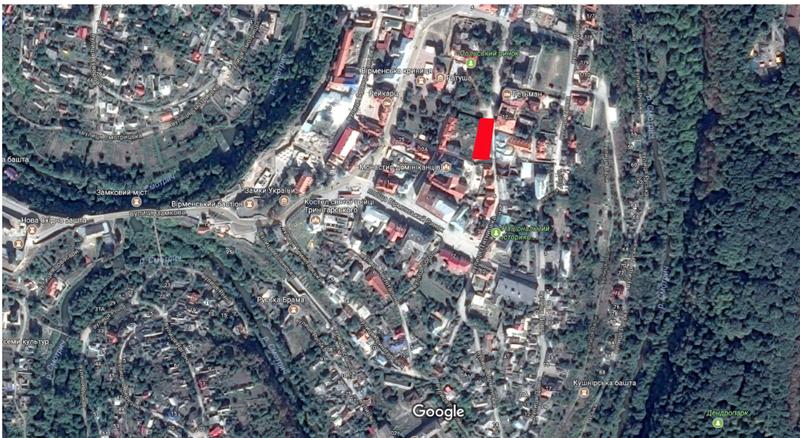 Ділянка досліджень на мапі міста. Виділена червоним
