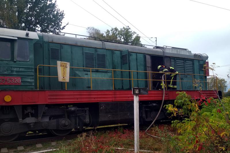 Вогнеборці швидко загасили вогонь, який спалахнув у моторному відсіку локомотива