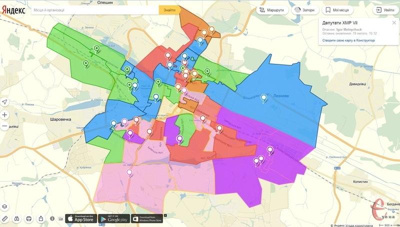 Ось так виглядає мапа, на якій можна дізнатися, хто з депутатів Хмельницької міської ради закріплений на певному окрузі
