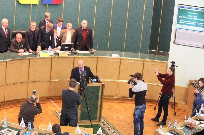 Депутати-свободівці заблокували робоче місце голови облради