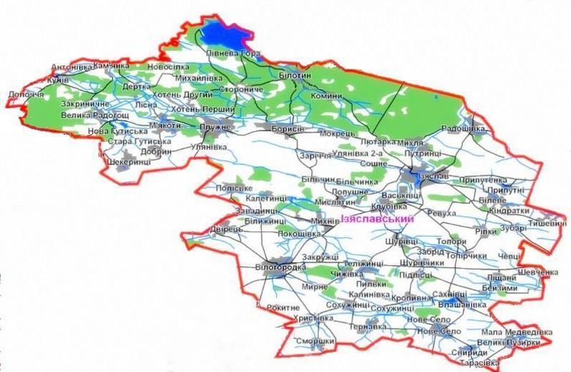 Карта Ізяславського району