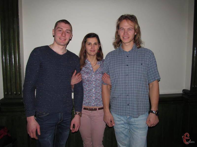 Учасники проекту В'ячеслав Мурава, Наталя Мостова та Микола Колосовський (зліва направо)
