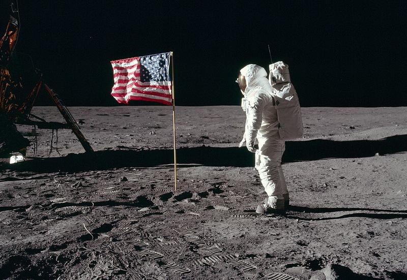 Астронавт Едвін Олдрін на поверхні Місяця, 20 липня 1969-го