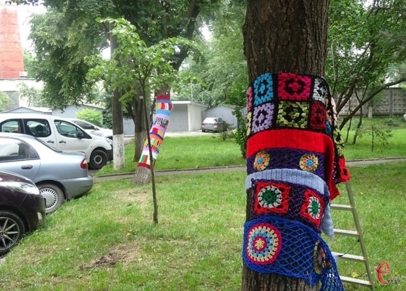 Дерева у кольорове плетиво одягнула хмельничанка Олена Попик
