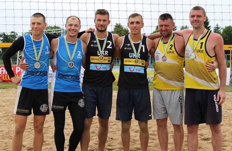 Влад Павлюк (у чорному під №1) та Роман Ковальчук (у жовтому під №2) здобули медалі третього туру чемпіонату України з пляжного волейболу