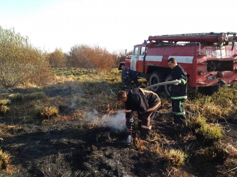 Рятувальники гасили пожежу торфу