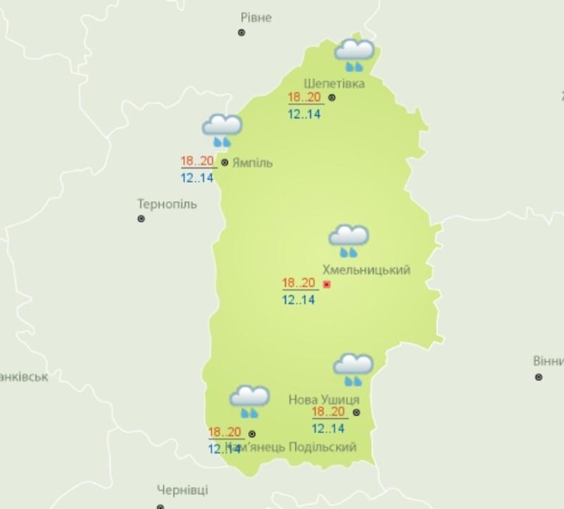 По всій території області прогнозуюють дощі