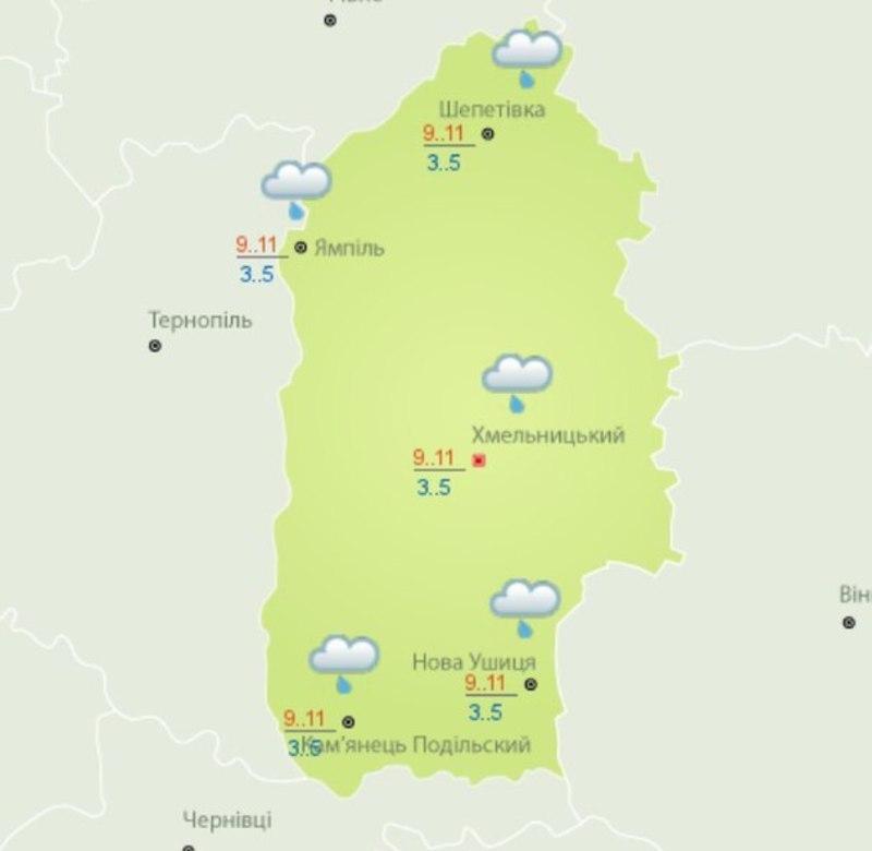 На Хмельниччині 8 квітня можливий дощ