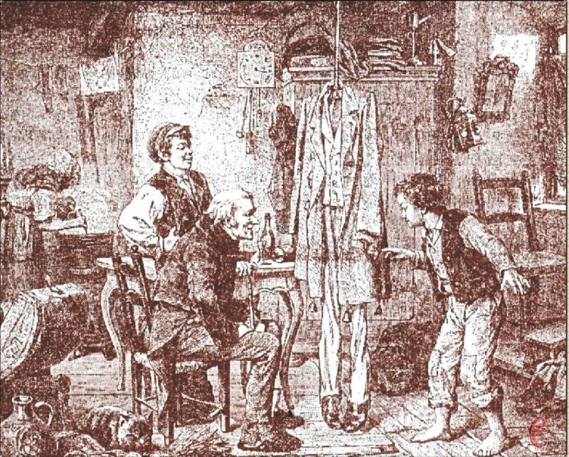 Навчання юного крадія, малюнок ХІХ століття.