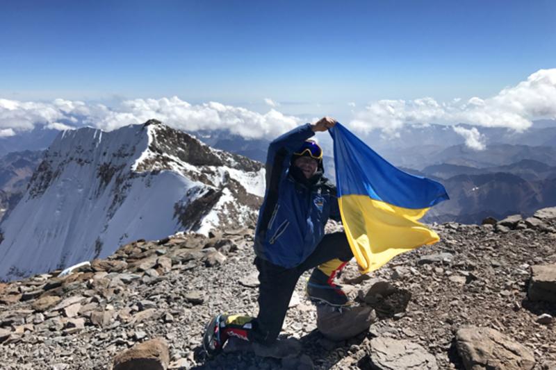 Олександр Антошков на вершині Аконкагуа