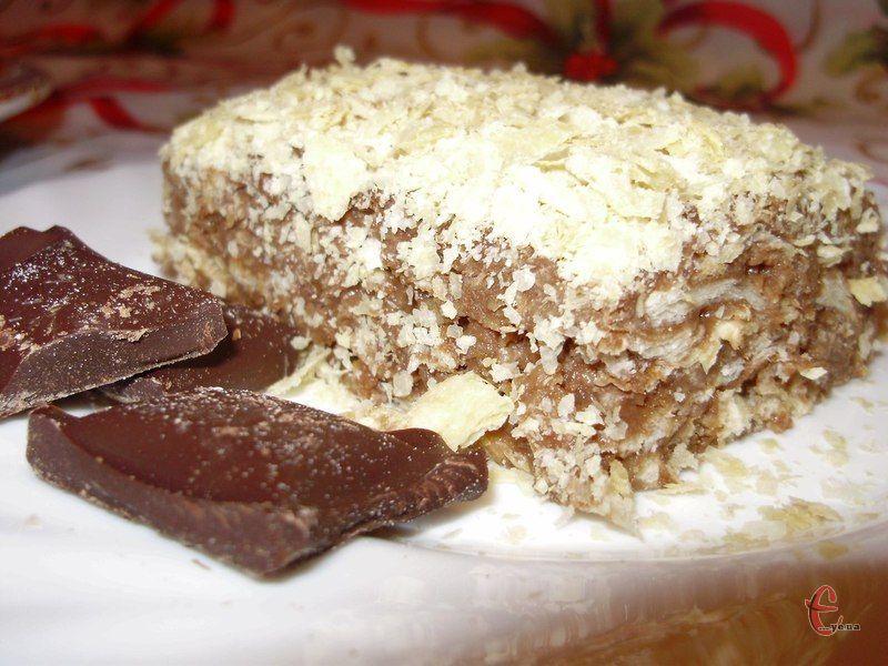 Тортик ніжний, просочений, не нудотний, із приємним шоколадним смаком та ароматом.