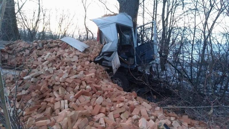 Вантажівка з'їхала на узбіччя і вдарилася у дерево
