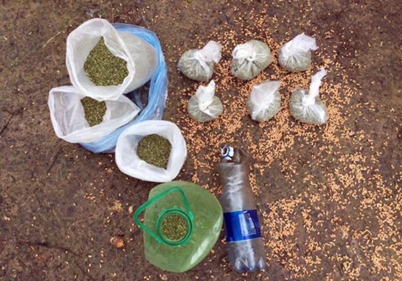 Наркотичне зілля було розфасоване у 9 поліетиленових пакетів, частину з яких правопорушник ховав у бочці з зерном