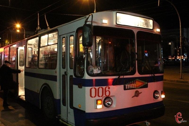 Вартість проїзду у нічних тролейбусах - 10 гривень