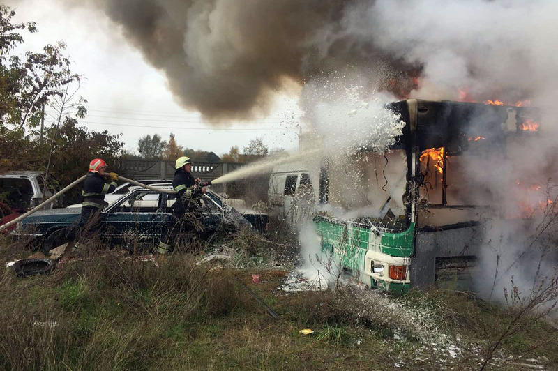 Рятувальники уточнюють, що автобус на момент пожежі в експлуатації не перебував
