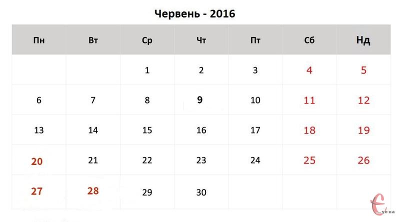 Багато хто з українців у червні матиме лише 19 робочих днів, а для відпочинку - 11 днів