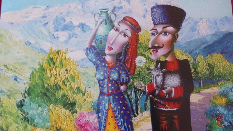 В афіші, як і в декораціях, використали картини сучасного грузинського художника Давида Мартиашвілі