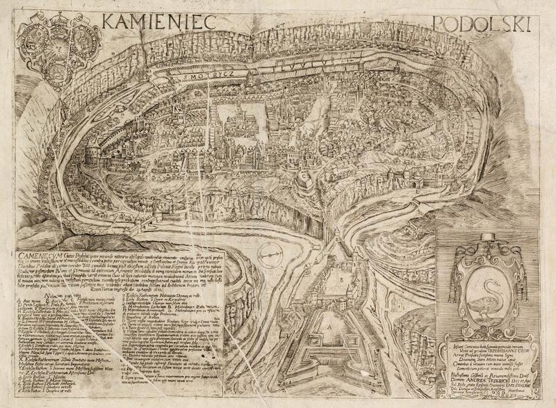 Карта Фортеці в Кам'янці-Подільському 1672 року. Гравюра Кипріана Томашевича