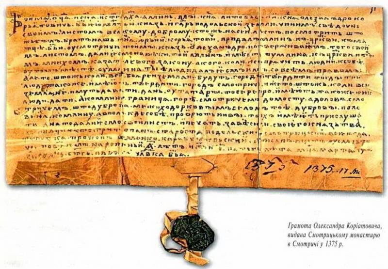 Найдавніший документ, що стосується Поділля