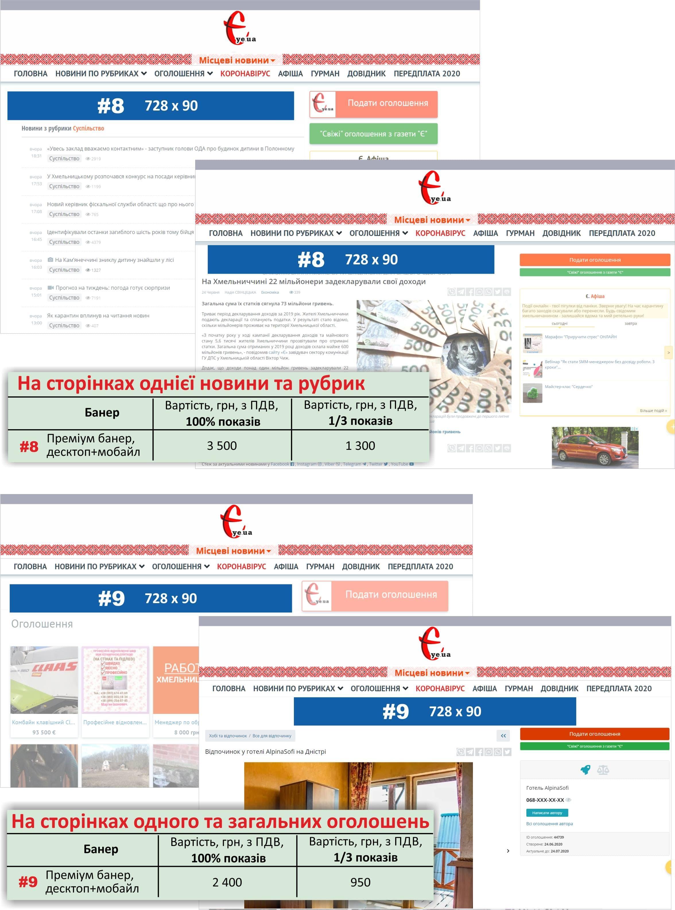 Прайс-лист новинних сторінок та сторінок оголошень на сайті ye.ua