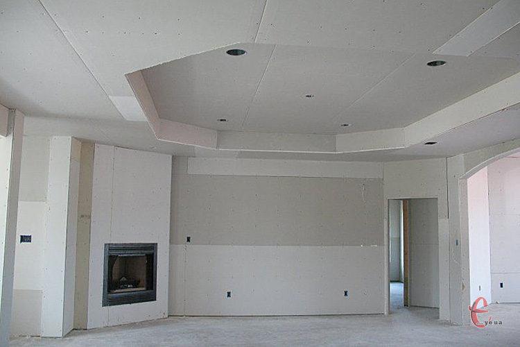 Монтаж гипсокартона, стены, потолки, короба, арки