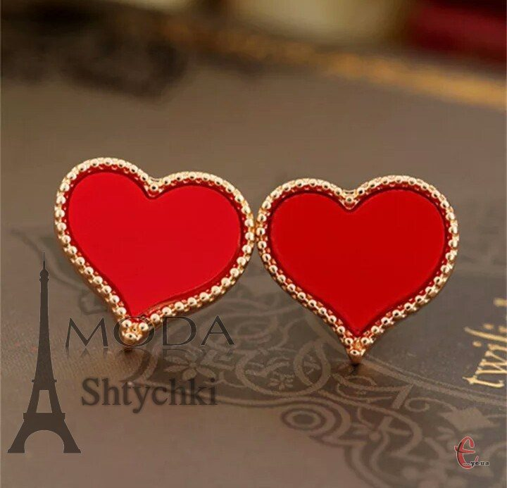 Серьги сердечки, цвет-золото с цветным сердцем