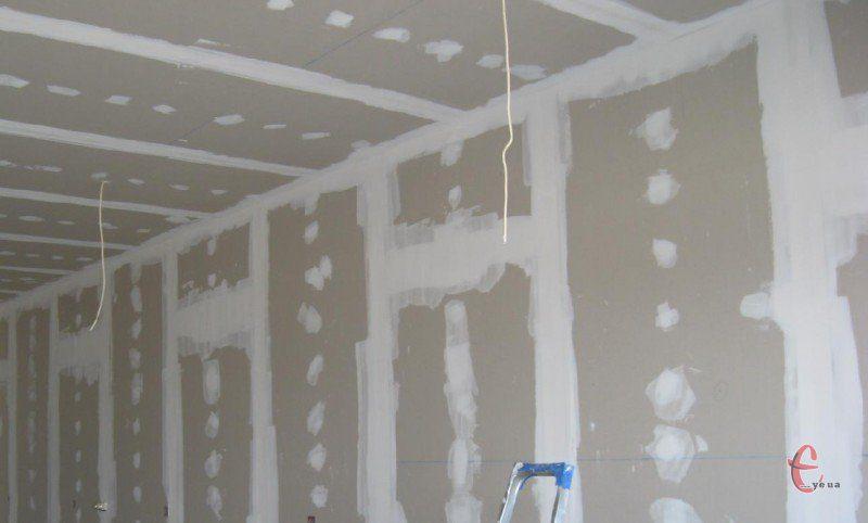 Шпаклевка стен и потолков, гипсокартонные работы