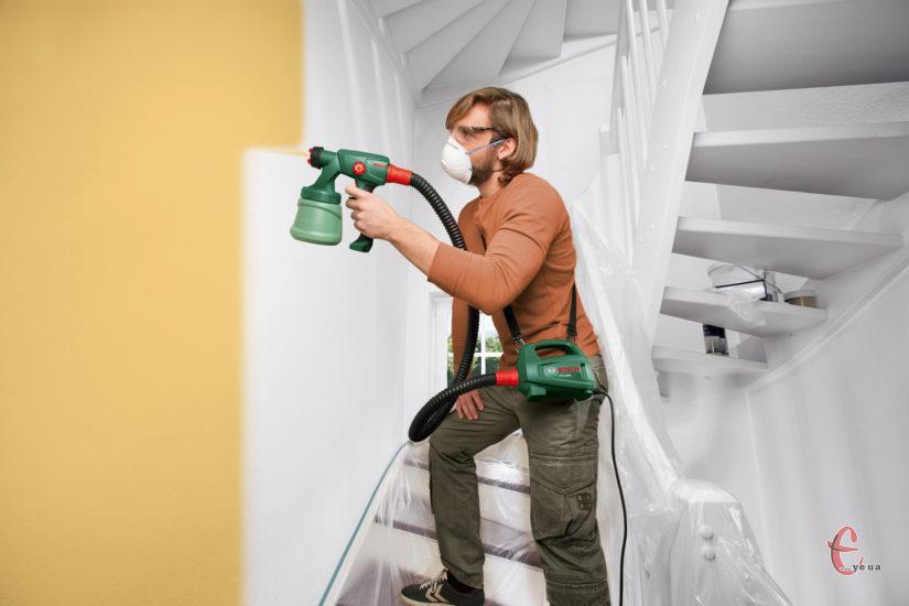 Фарбування стін краскопультом