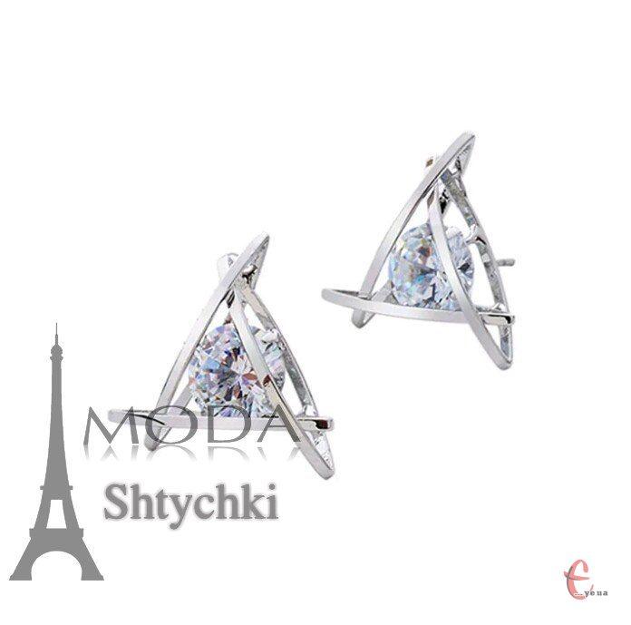 Серьги завальцованный кристалл
