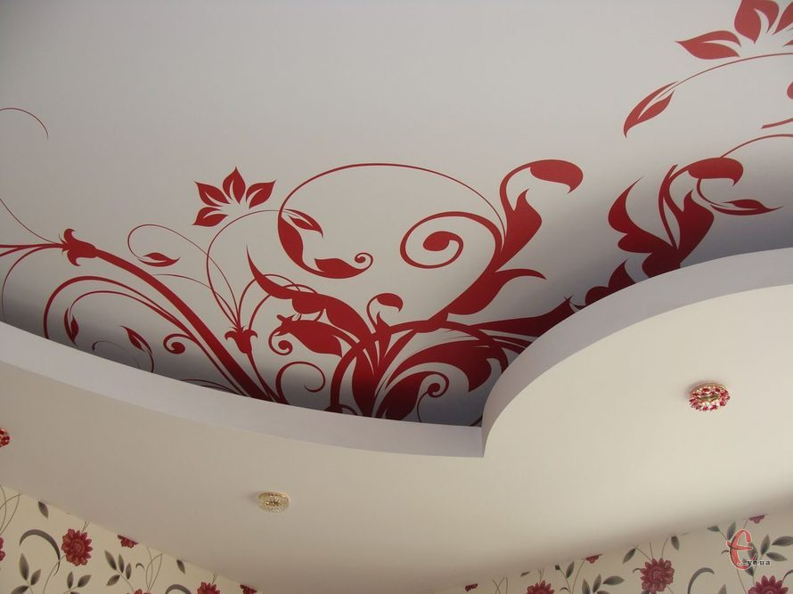 Натяжные потолки резные, двухуровневые, фотопечать, натяжной потолок