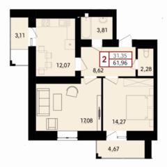 2-кімнатна квартира в побудованому будинку, ближні Гречани