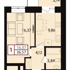 1-кімнатна квартира у ближніх Гречанах