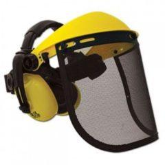 Защитный щиток, металлическая сетка с наушниками для работы с бензопилой