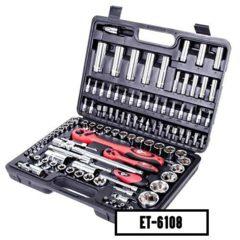 """Набір інструментів Intertool 1/4"""", 1/2"""", 108 предметів (ET-6108)"""