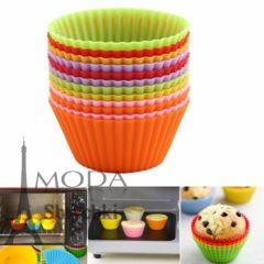 Силиконовые формы для выпечки кексов - цветные, в упак 6 шт