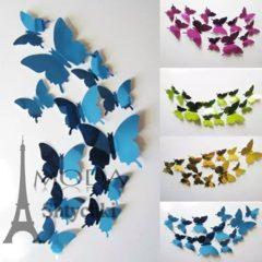 Бабочки-зеркало для интерьера, 12 штук в упак