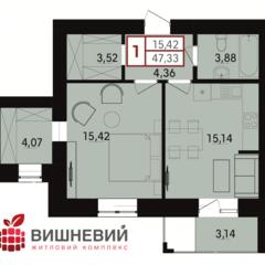 Простора 1-кімнатна квартира з коміркою, ближні Гречани