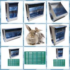 Безопасные многосекционные кормушки для кроликов.